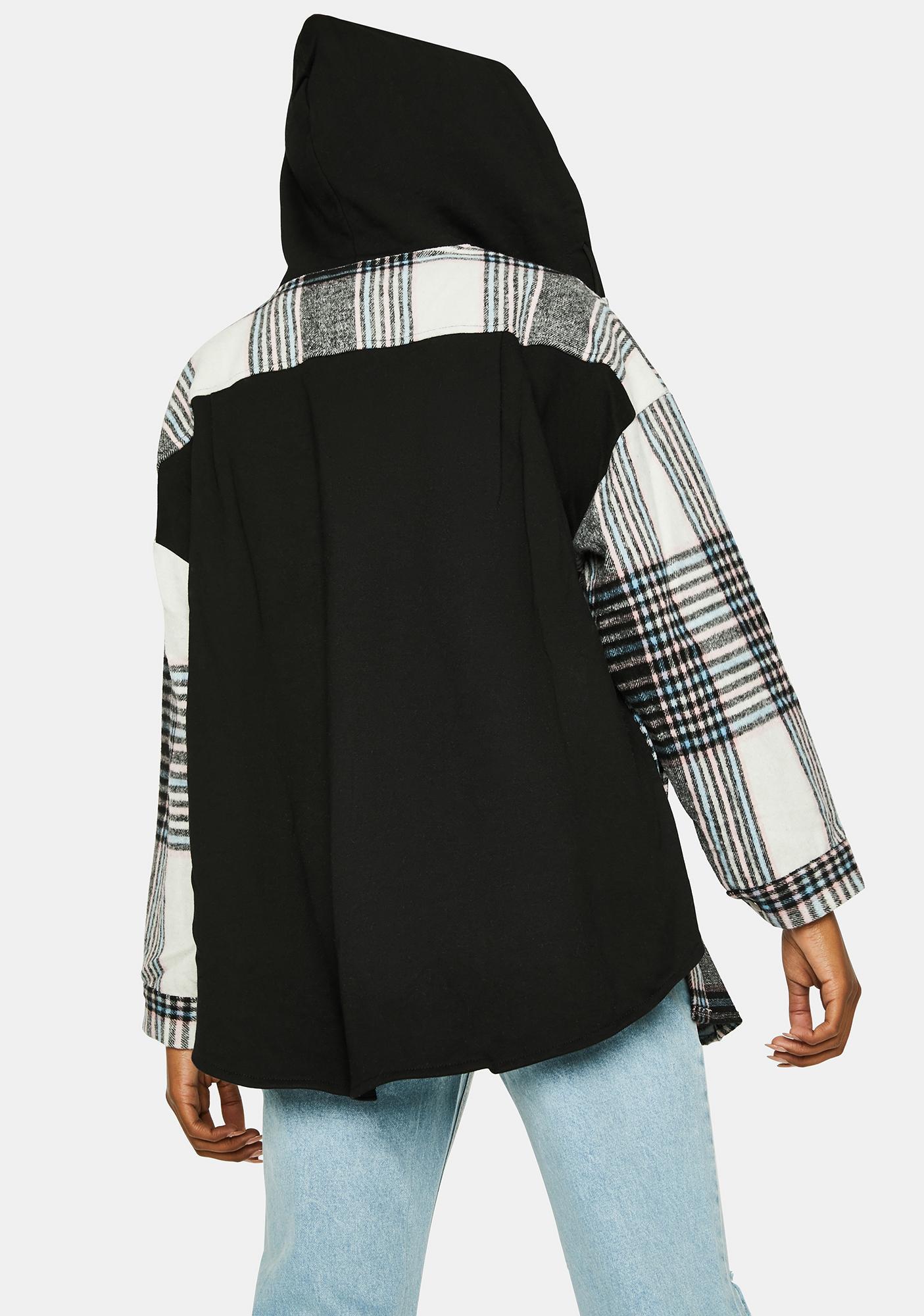 Grunge Time Hooded Plaid Shirt