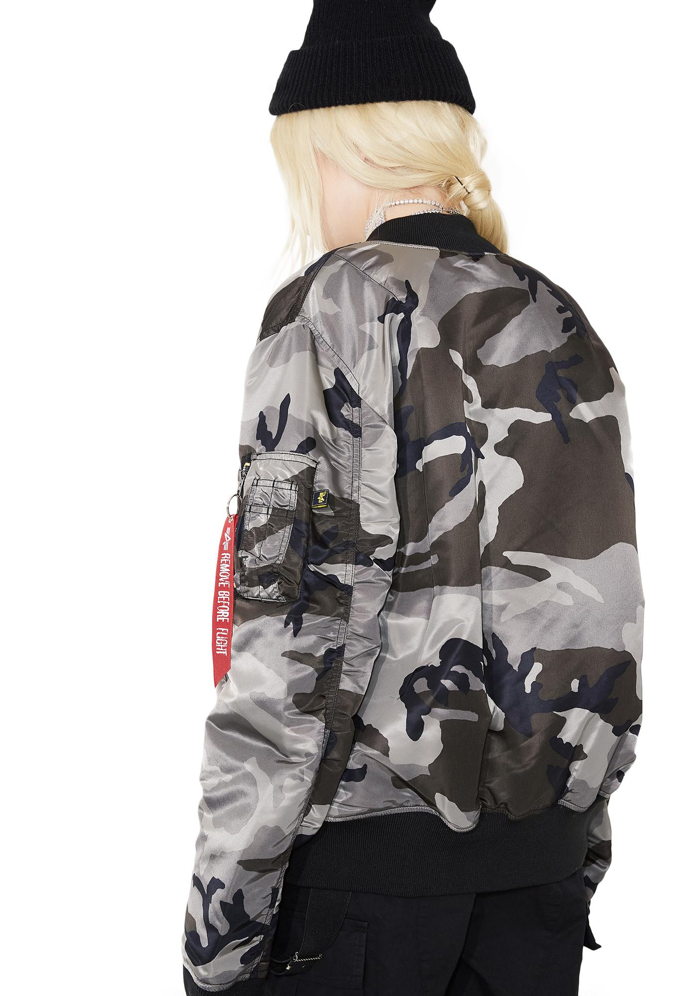 Alpha Industries MA-1 Slim Fit Camo Flight Jacket | Dolls Kill
