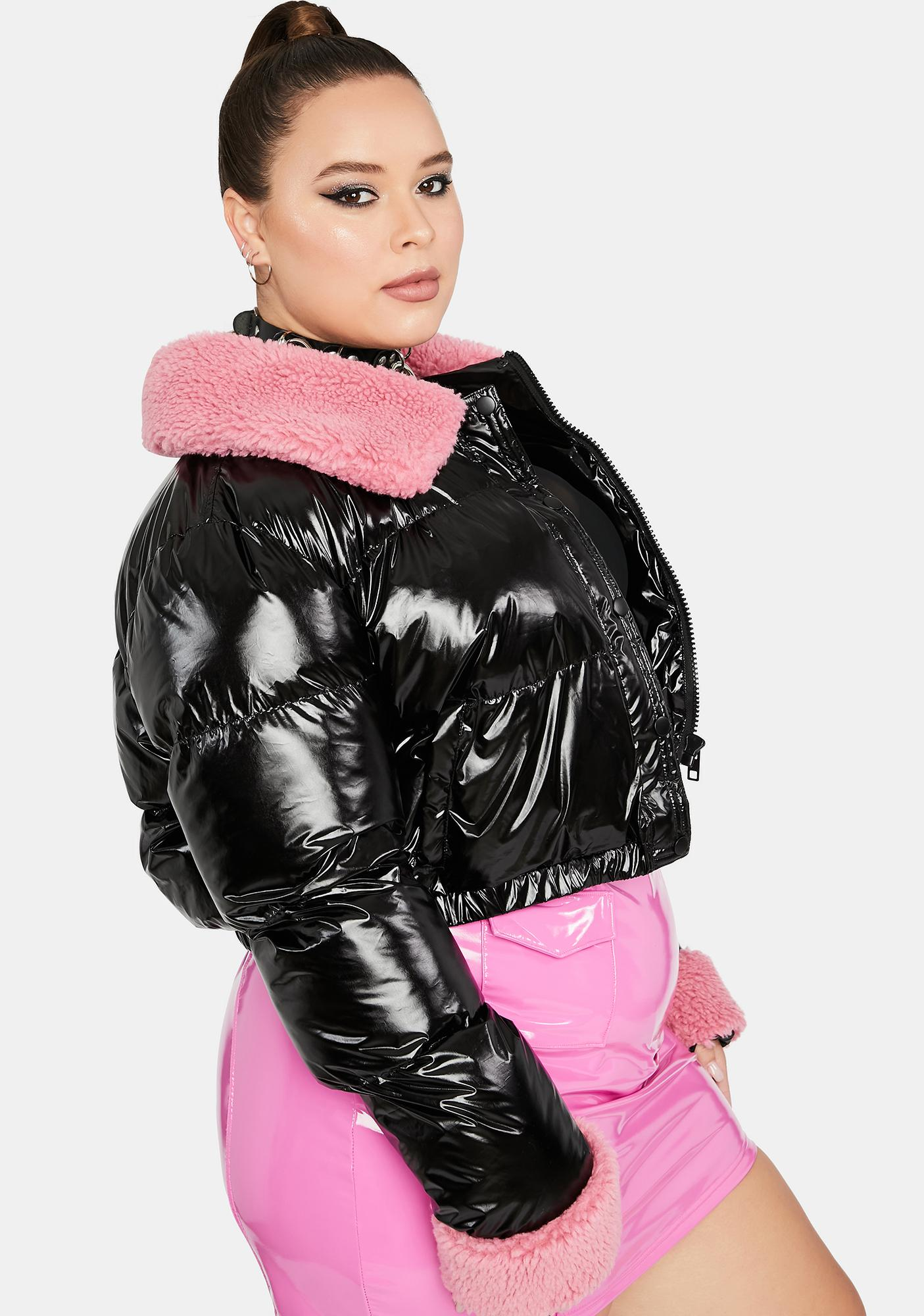 HOROSCOPEZ Miss Manifesting Money Crop Puffer Jacket