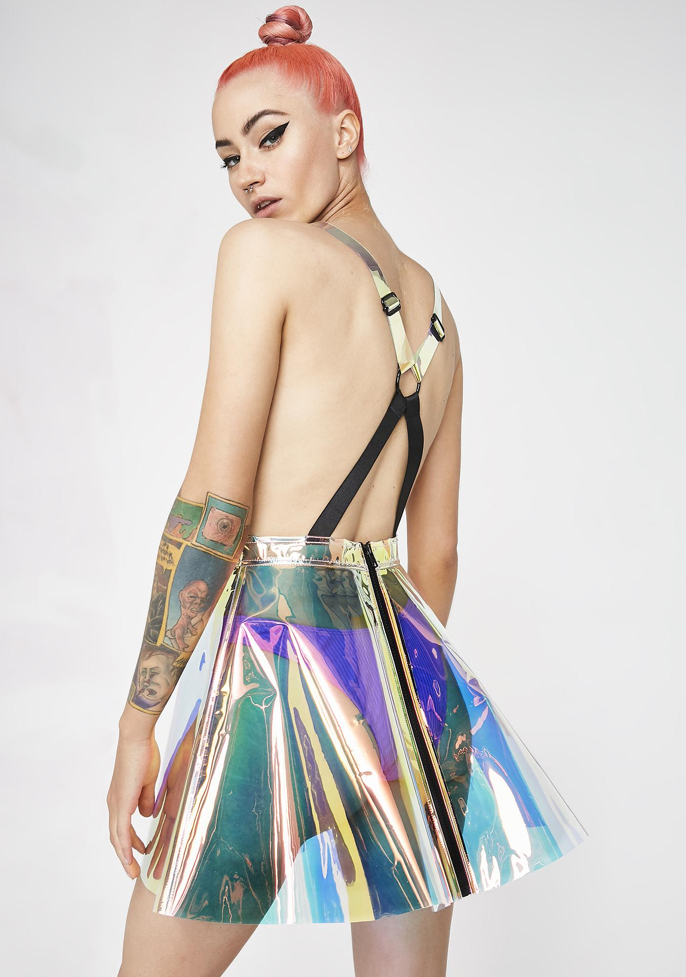 Club Exx Space Gurl Hologram Overall Dress