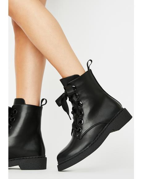 Tied In Lies Combat Boots