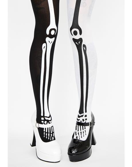 Sin N' Bones Mismatch Tights