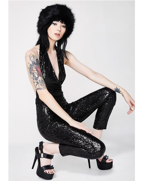 Onyx Spotlight Sight Sequin Catsuit