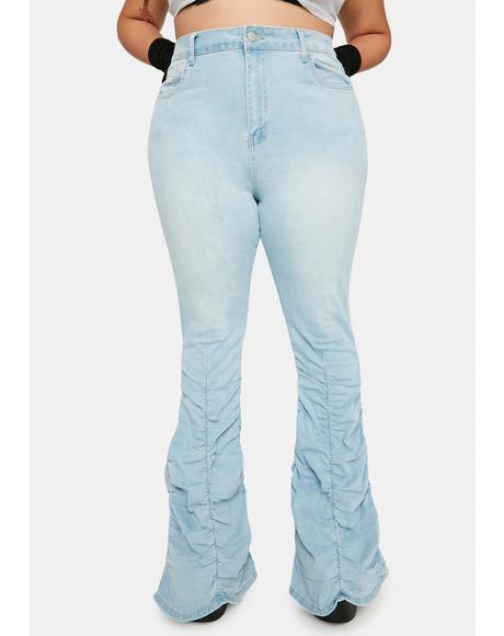 Sky It's Not My Problem Shirred Flare Jeans