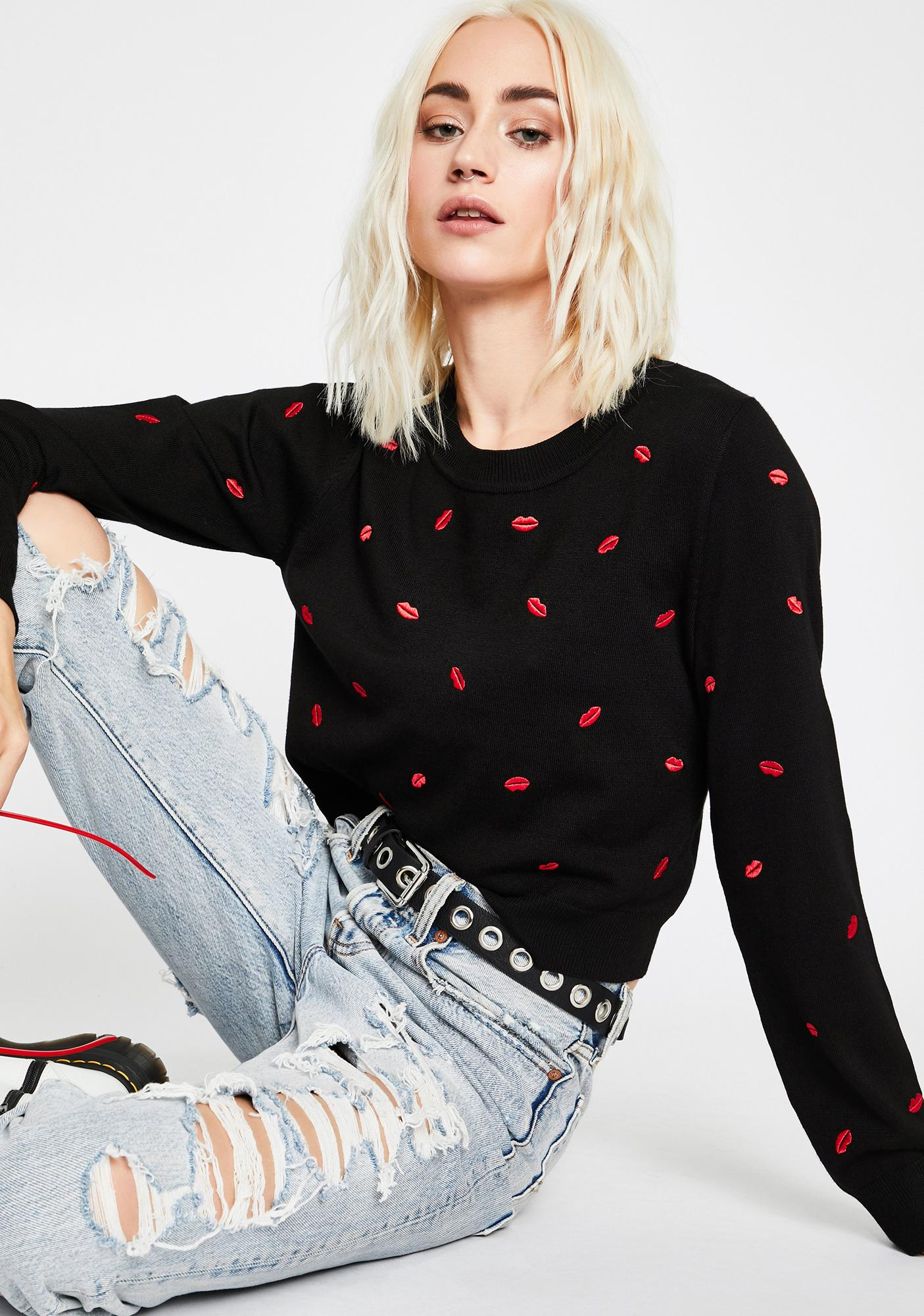 Kiss Me Embroidered Sweater