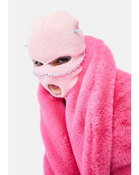Pink Demon Beanie Mask