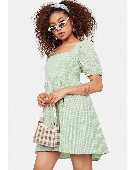 Sage Mellow Mood Puff Sleeve Mini Dress