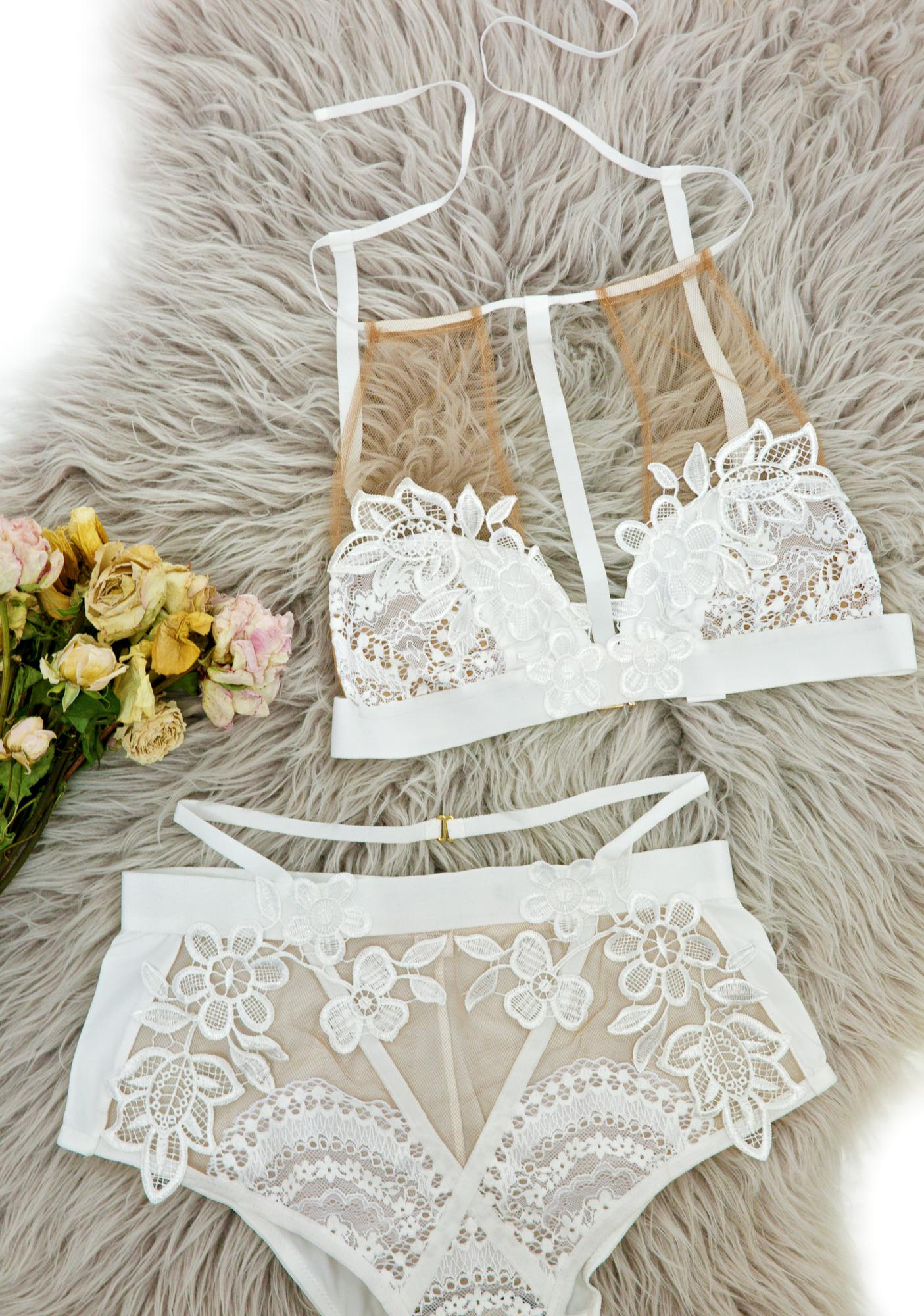 For Love & Lemons Alabaster Lucia Halter Bralette
