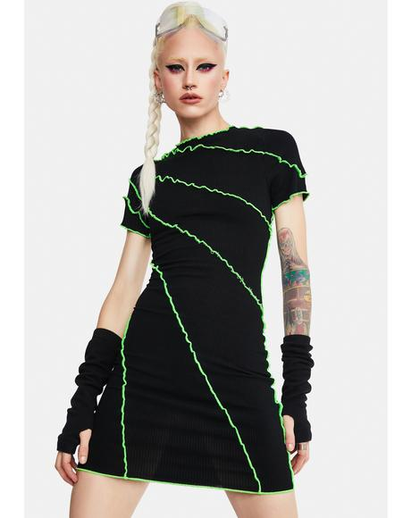Enter The Void Seamed Mini Dress