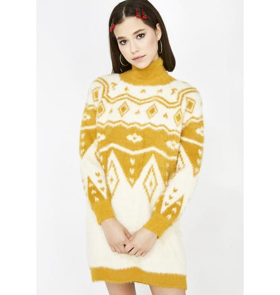 Honey Punch Cordially Cozy Sweater Dress