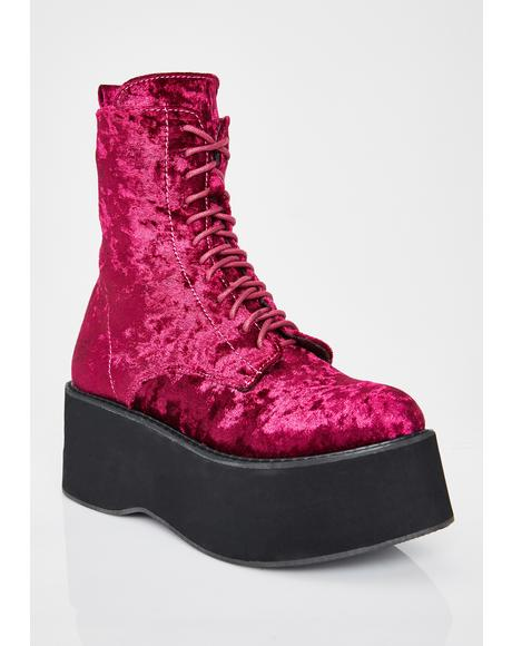 Wine Oracle Velvet Boots