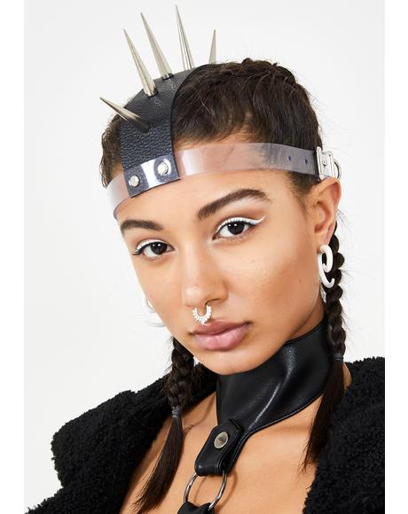 Chrome Get Spiked Mohawk Headpiece