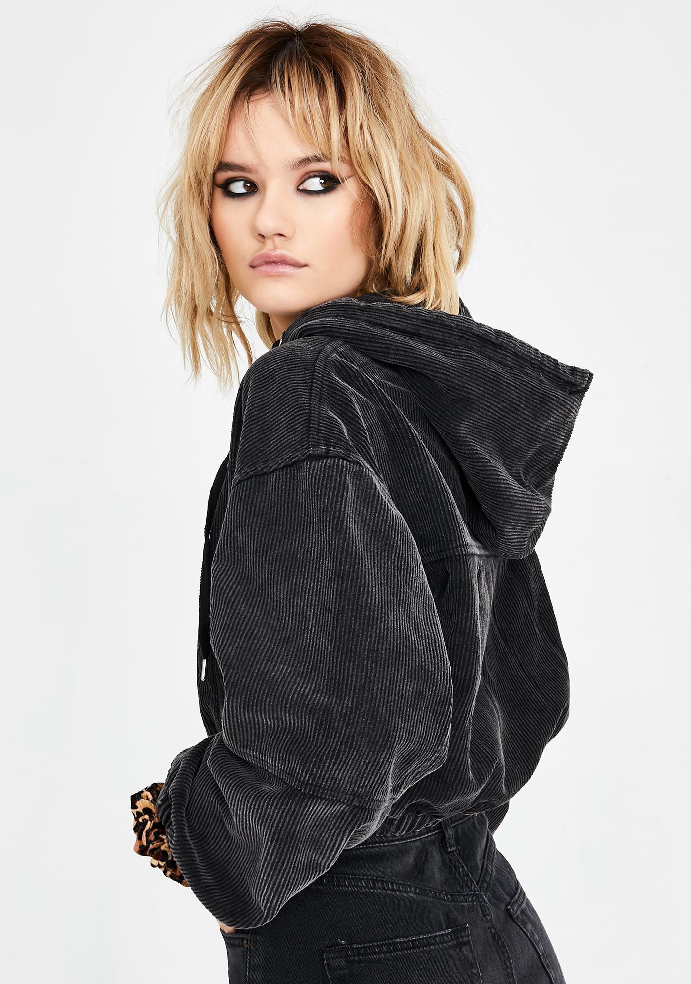 BDG Corduroy Cropped Hoodie Jacket