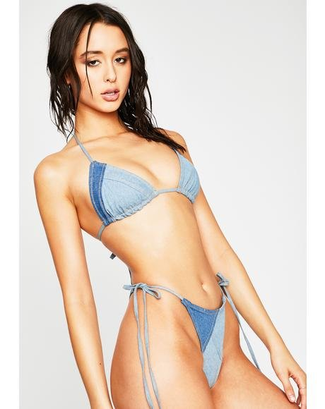 Beach City Belle Denim Bikini Set