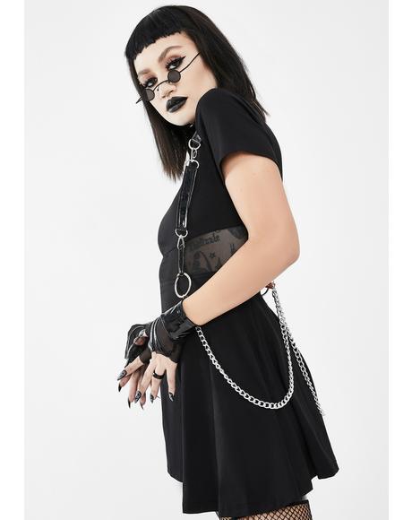 Black Harness Mini Dress With Chains