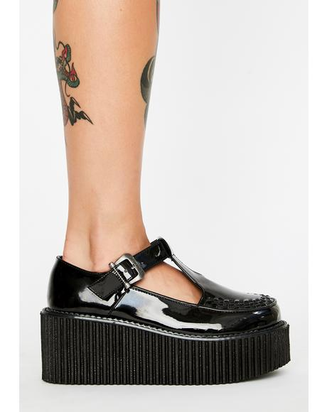 Patent T-Strap Creepers