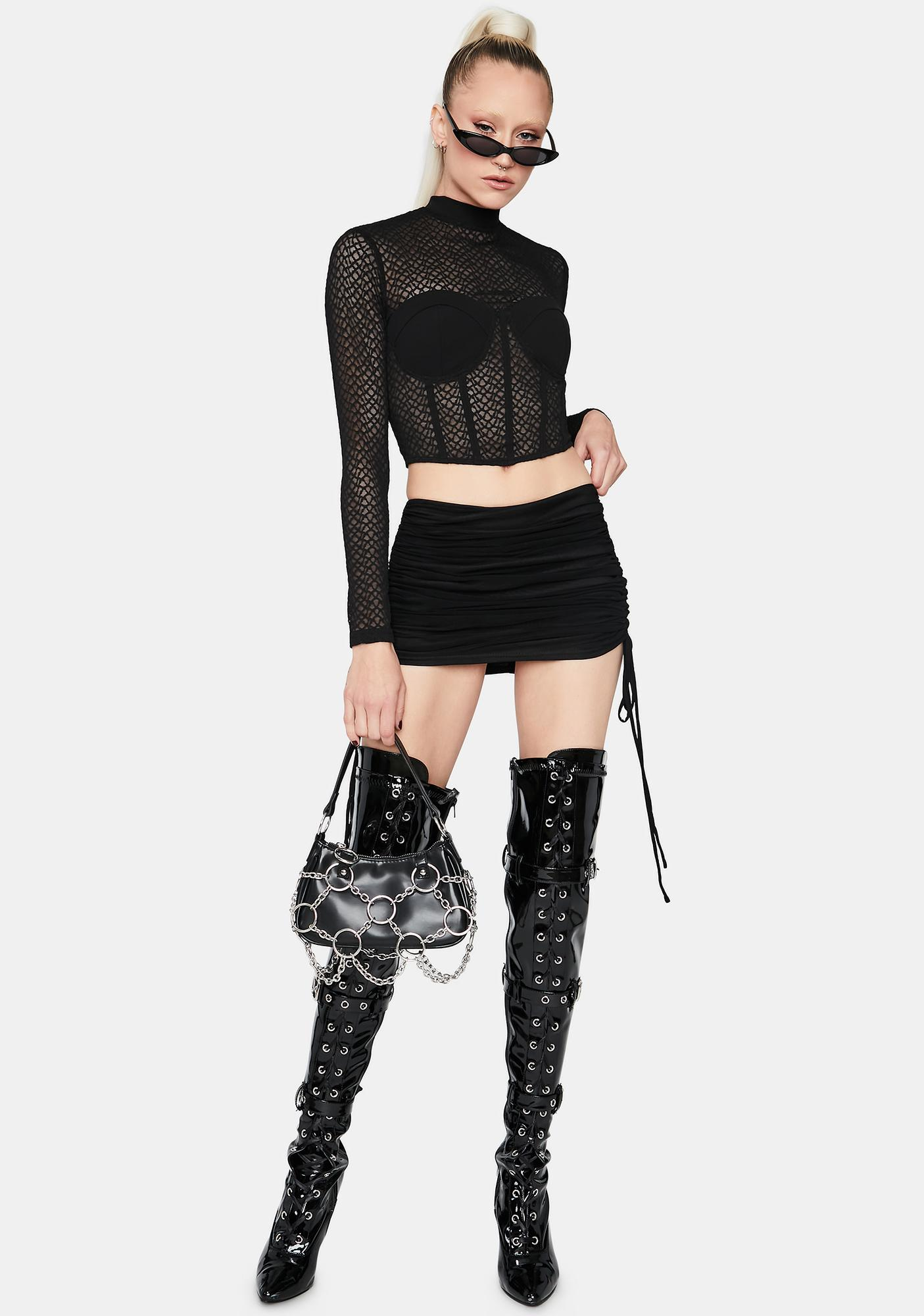 One Step Closer Ruched Mini Skirt