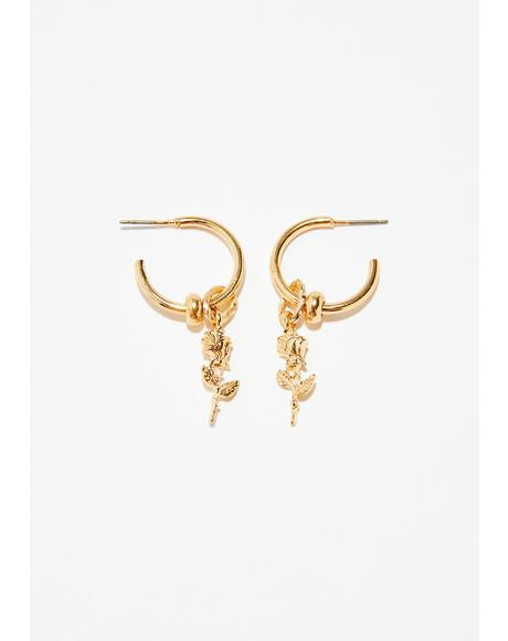 Beloved Rose Hoop Earrings