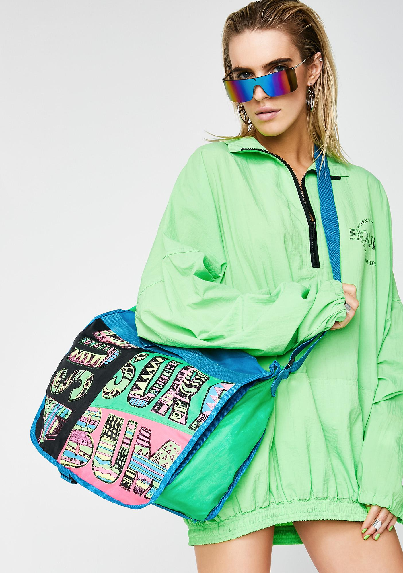 Vintage 80s Neon Surf Bum Bag