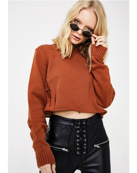Bronze Clifford Distressed Sweater