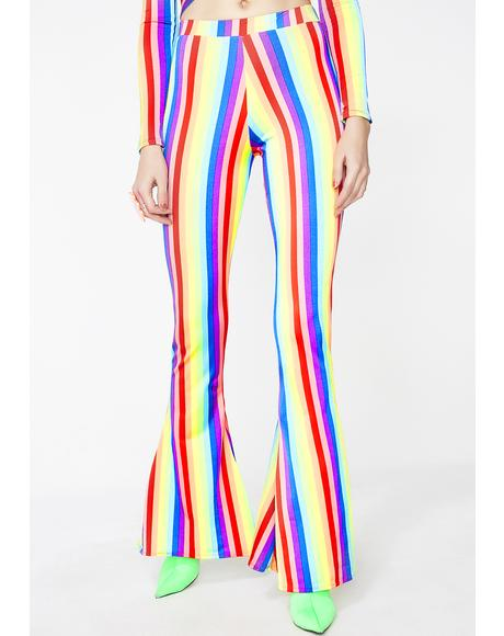 Rainbow High Waisted Flares