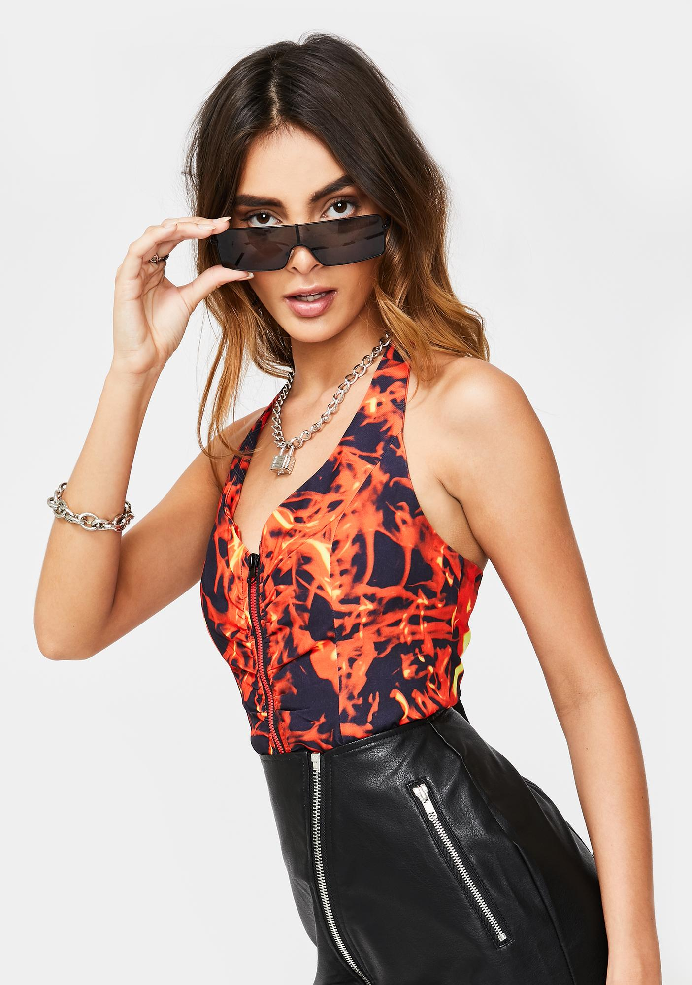Jaded London Flame Print Halter Neck Corset Top