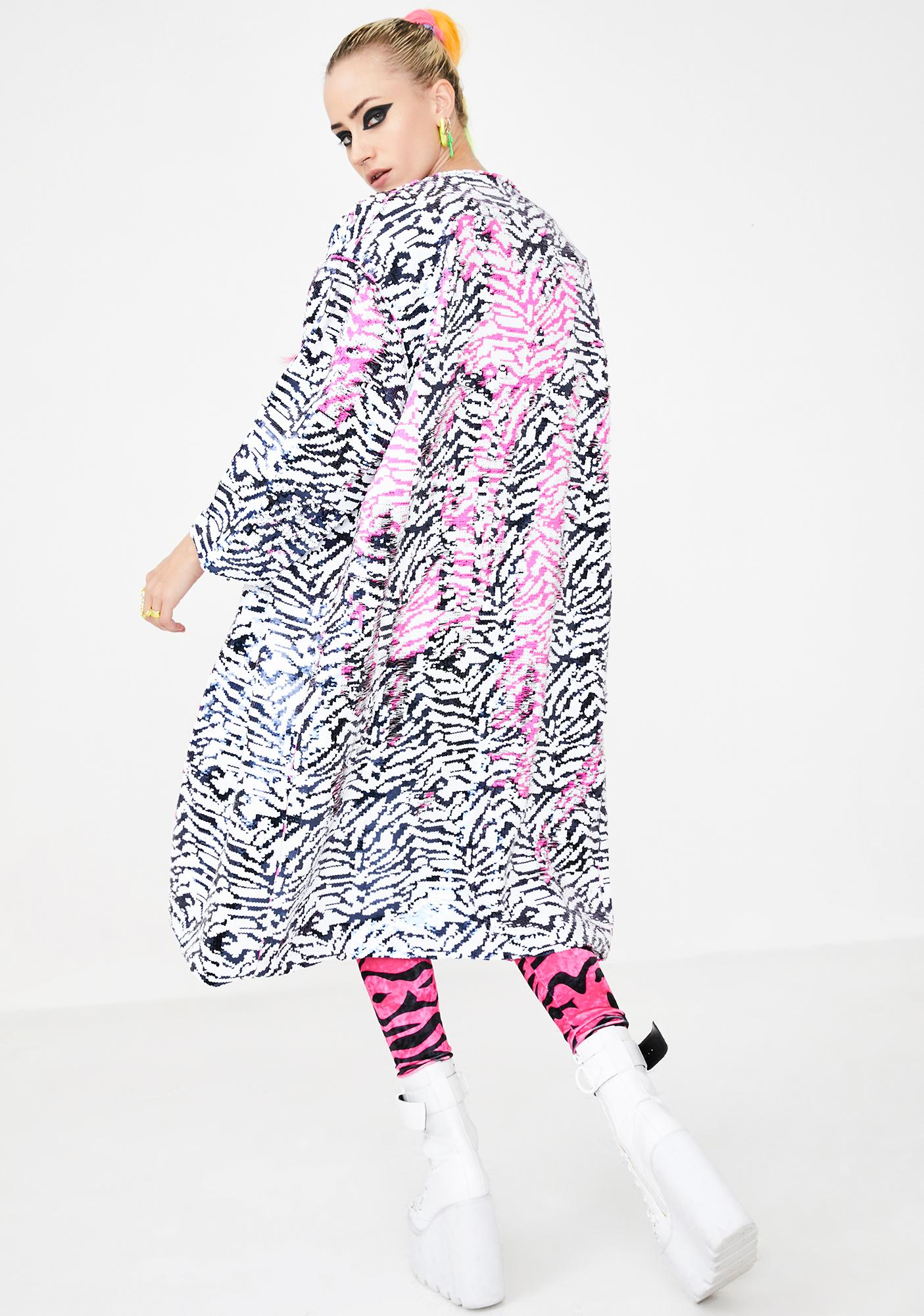 Glitter Disco Child Le Freak Zebra Reversible Sequin Kimono