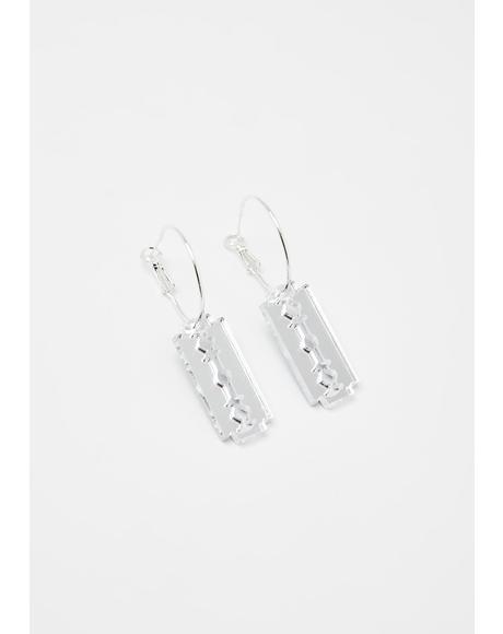 Mini Razor Blade Hoop Earrings