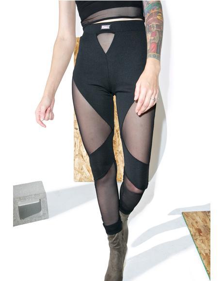 Black Mesh Cutout Leggings