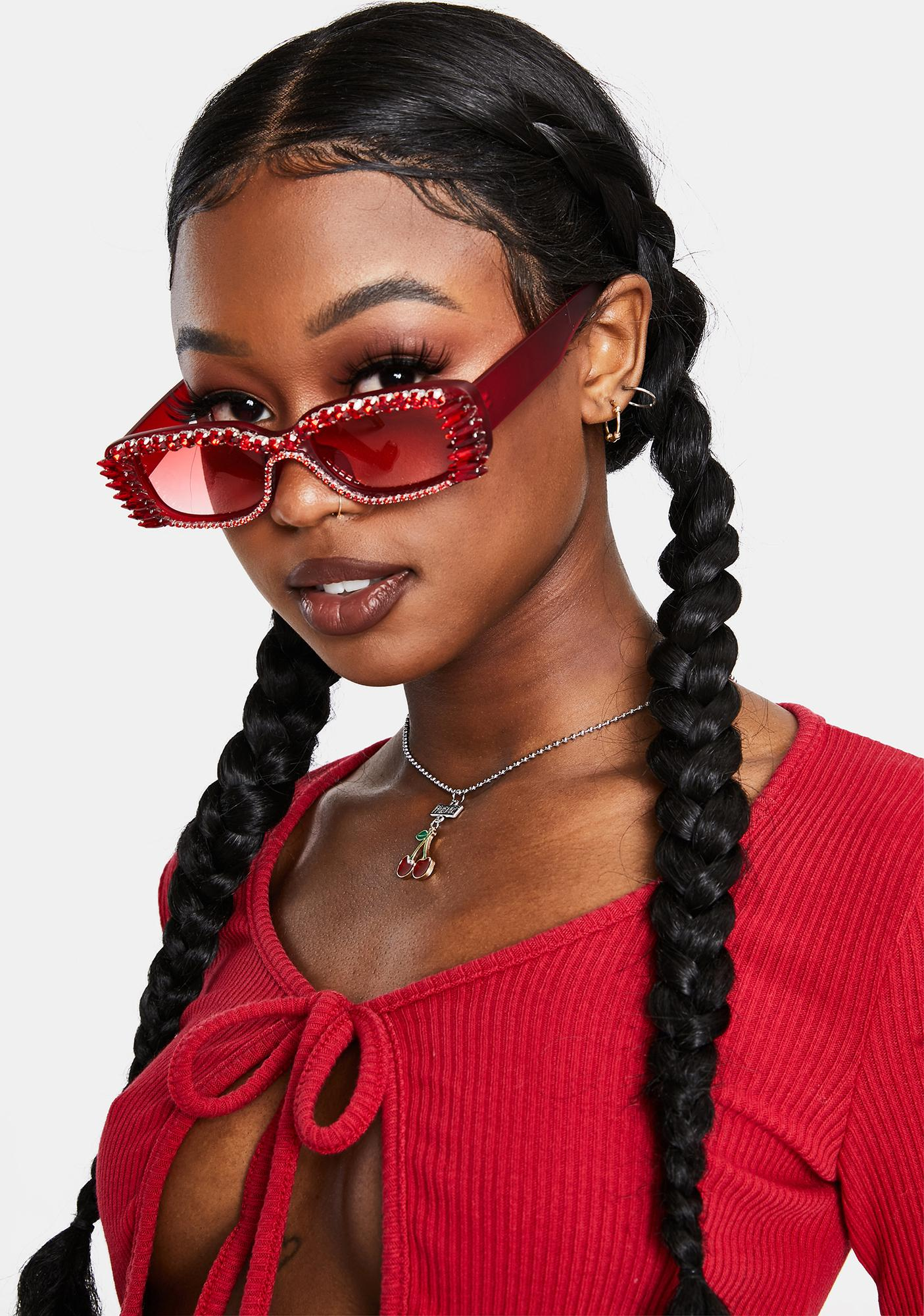 Fire Fast Check Out Studded Sunglasses