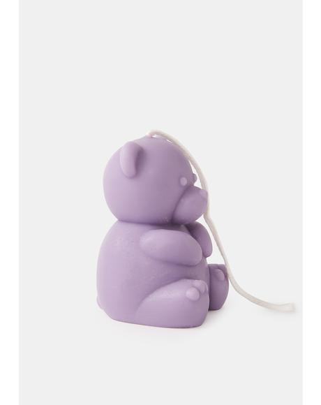 Lilac Cuddle Me Teddy Bear Candle