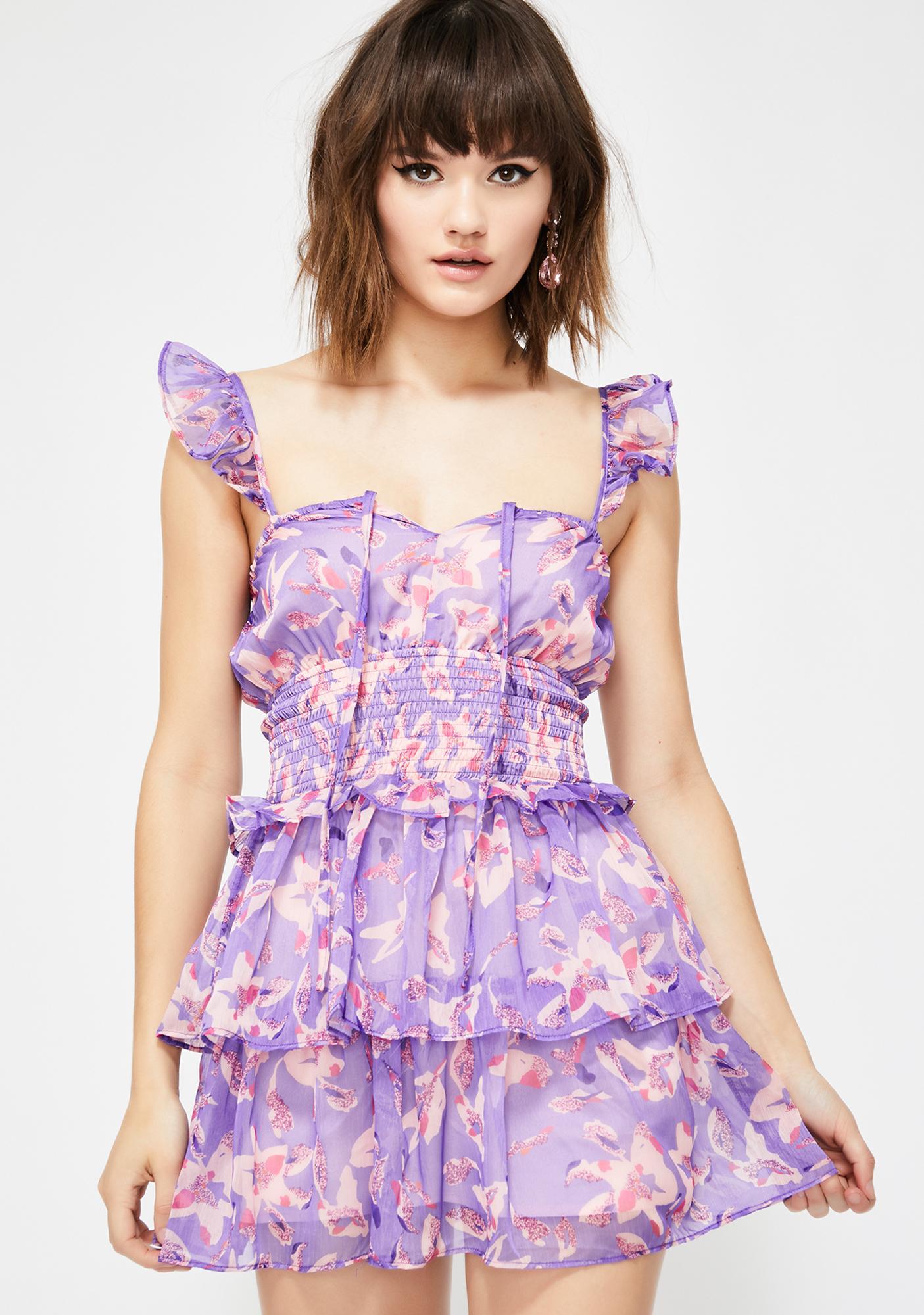 cee43a349a64 Purple Flowy Floral Layered Mini Dress