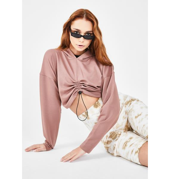 Public Desire Ruched Toggle Crop Hoodie