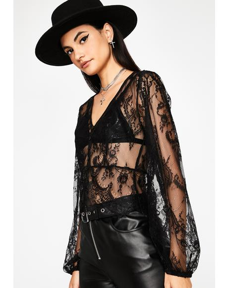 Dark Delicate Truth Sheer Blouse