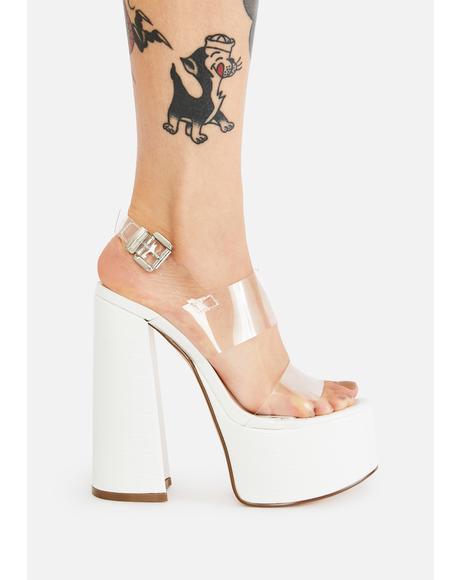 White Snake Support Platform Heels