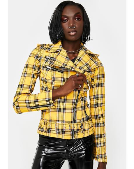 Yellow Plaid Wild Child Moto Jacket