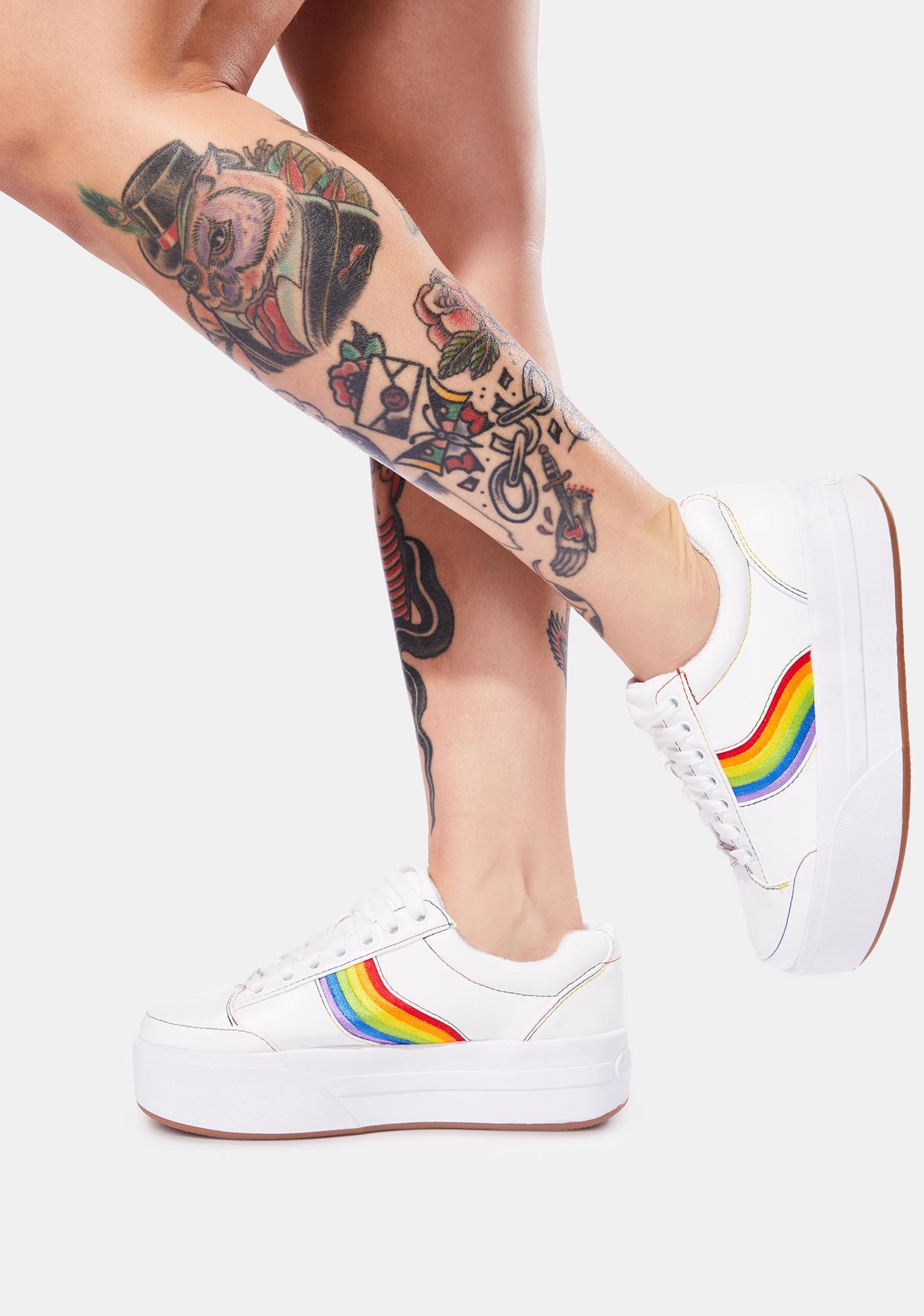 dELiA*s by Dolls Kill Snowball Fight Rainbow Stripe Platform Sneakers
