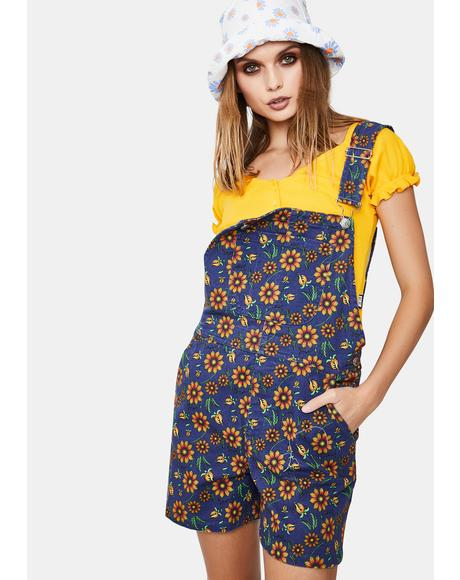 Wild Sunflower Denim Overall Shorts