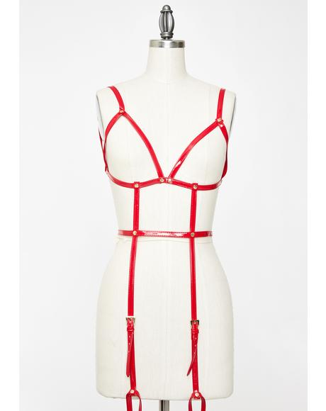 Red Open Harness Bra With Leg Cuffs