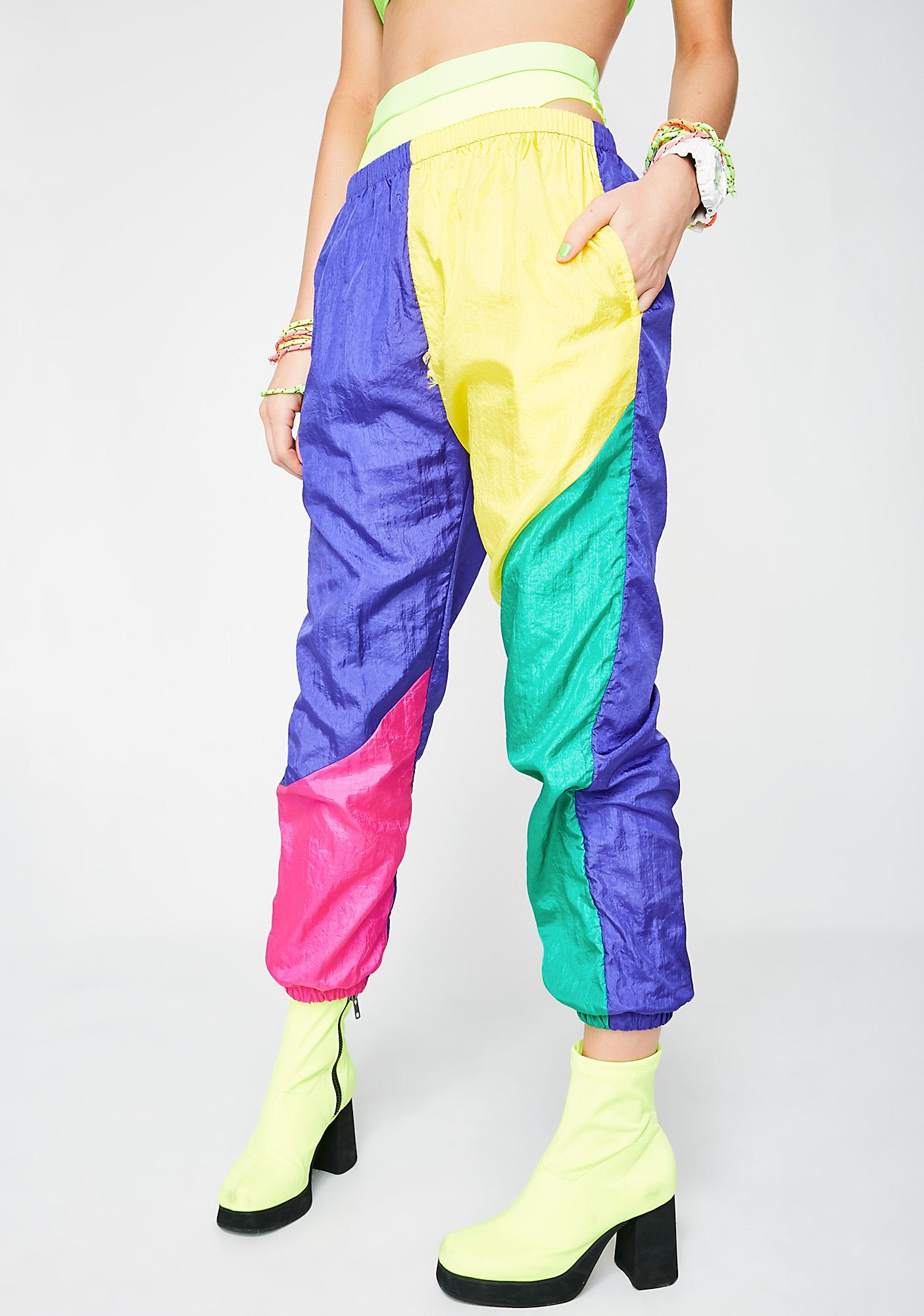 Vintage 80s Neon Colorblock Pants