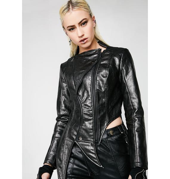 Punk Rave Irregular Shaped PU Leather Jacket