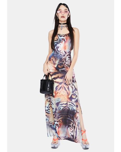 Tiger Print Satin Tie Back Maxi Dress