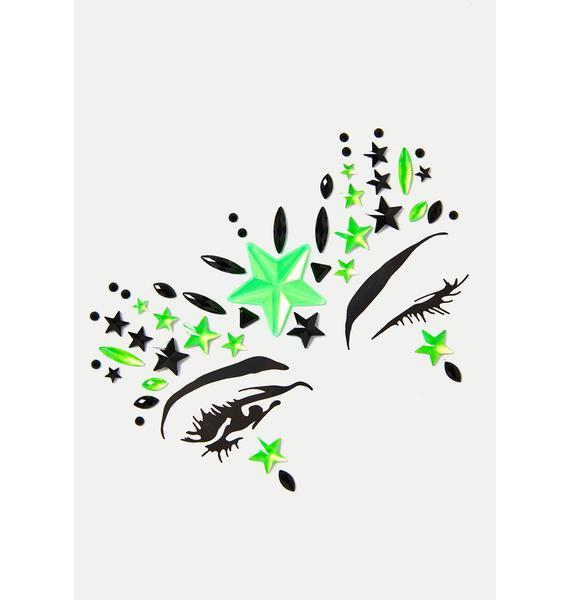 SHRINE Neon Green Alien Face Jewels