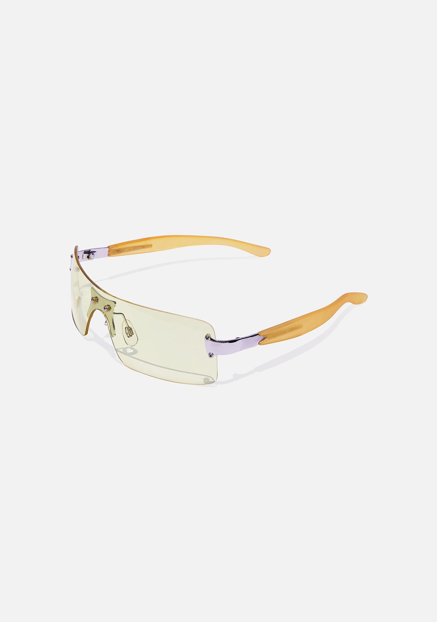 Good Times Eyewear Pale Yellow Shield Sunglasses