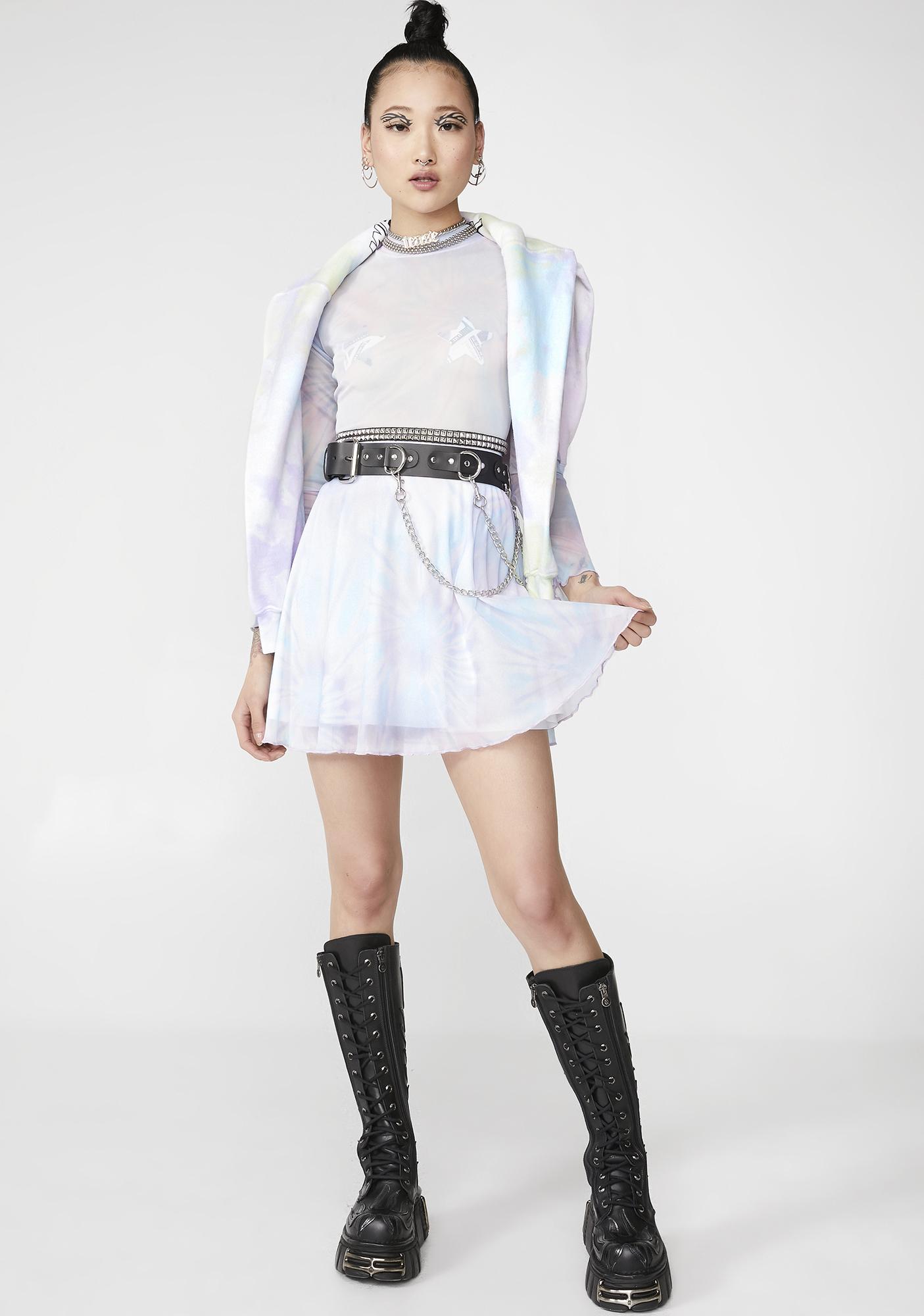 NEW GIRL ORDER Tie Dye Mesh Skater Dress