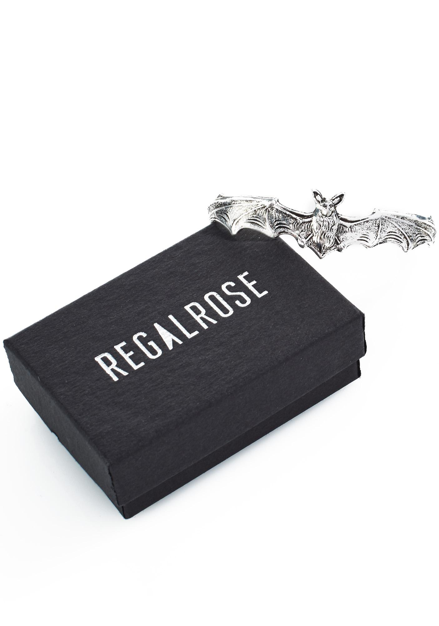 Regal Rose Silver Bat 3 Finger Ring
