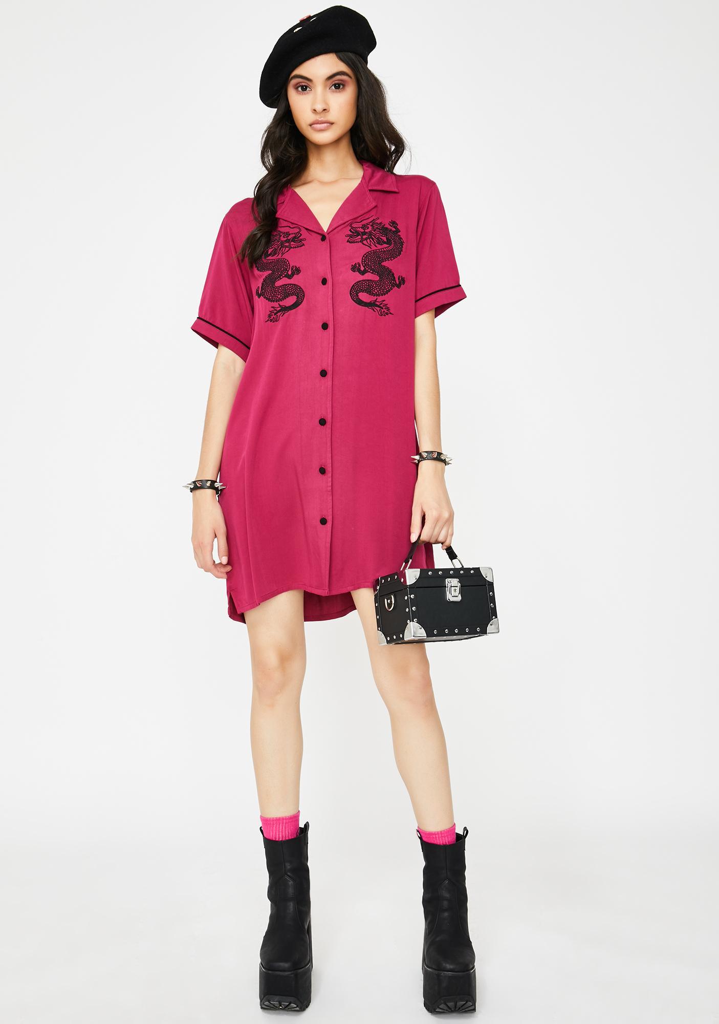 Lazy Oaf Red Dragon Shirt Dress