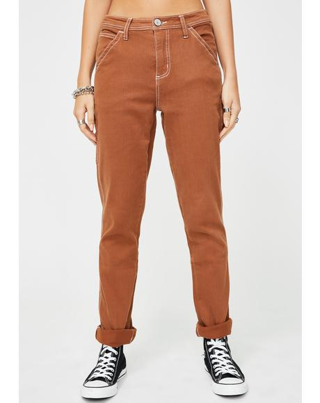 Brown Slim Carpenter Pants