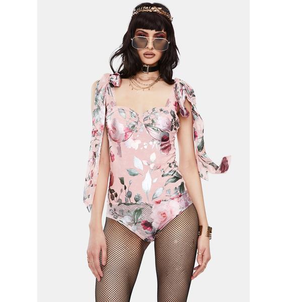 RARE LONDON Pink Metallic Lace Floral Bodysuit