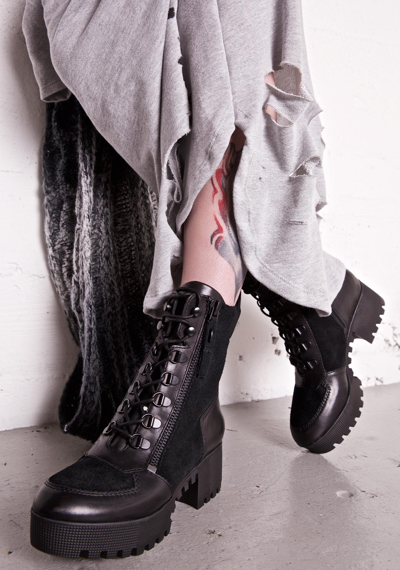 Kendall + Kylie Ashen Phoenix Lace-Up Combat Boots